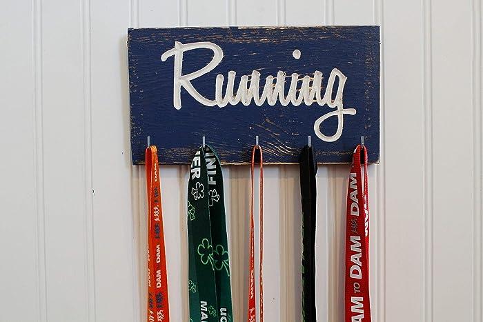 Amazon com: Running Medal Holder - Carved Sign - Race Medals