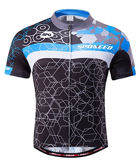8c90b7124 Amazon.com   sponeed Men s Cycling Jerseys Tops Biking Shirts Short Sleeve Bike  Clothing Full Zipper Bicycle Jacket Pockets   Clothing