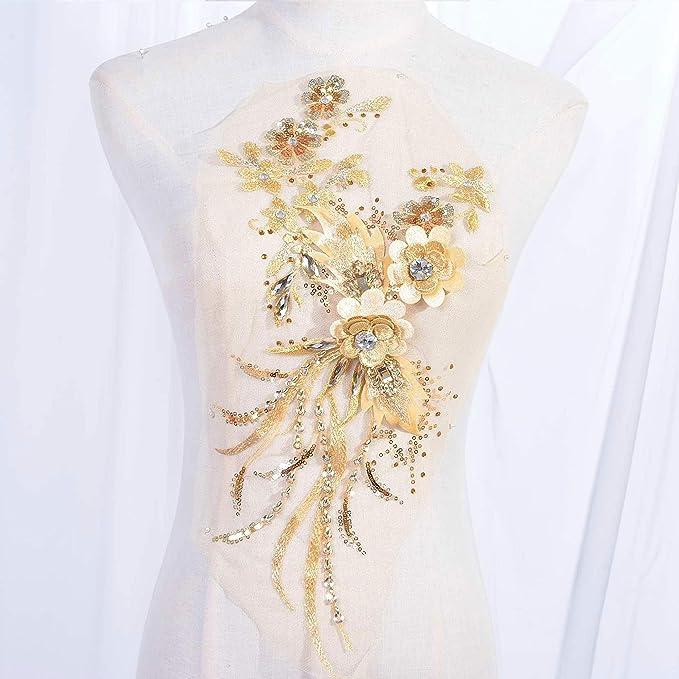 Dance Costumes,sewing patch,APFBT301 Champagne color applique beaded long floral pair lace applique for Bridal Bridesmaid