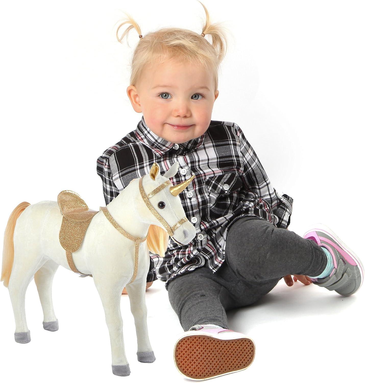 Pink Papaya Unicornio de Peluche 40 cm - Unicornio de pie Selina – Caballo Acogedor con sillín y Brida Desmontable Caballo Juguete Grande como una muňeca para Jugar y soňar de la Marca Toys
