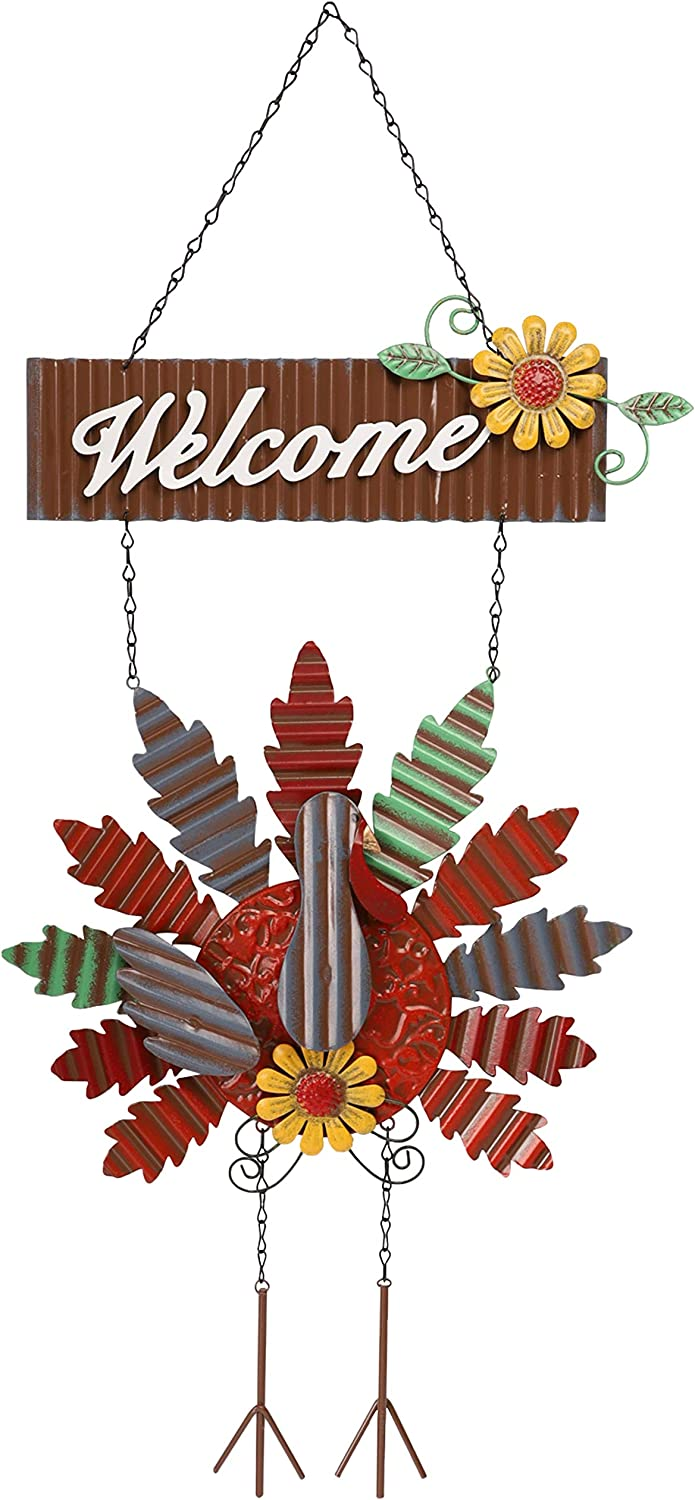 SAND MINE Metal Thanksgiving Turkey Welcome Sign, Autumn Harvest Give Thanks Front Door Wall Hanging Decoration, Welcome Home Garden Wall Flag, Fall Thanksgiving Door Decorations
