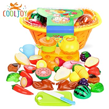 COOLJOY 21pcs de Juguetes Cortar Frutas Verduras de Plástico ABS, Gastronomía Saludable, Sin Tóxico