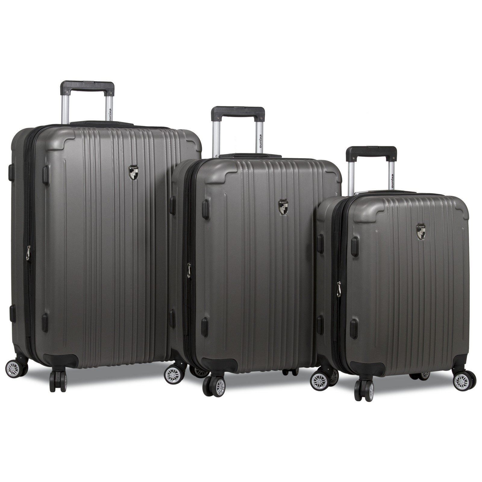 Dejuno Atlas 3-Piece Hardside Spinner Combination Lock Luggage Set, Charcoal