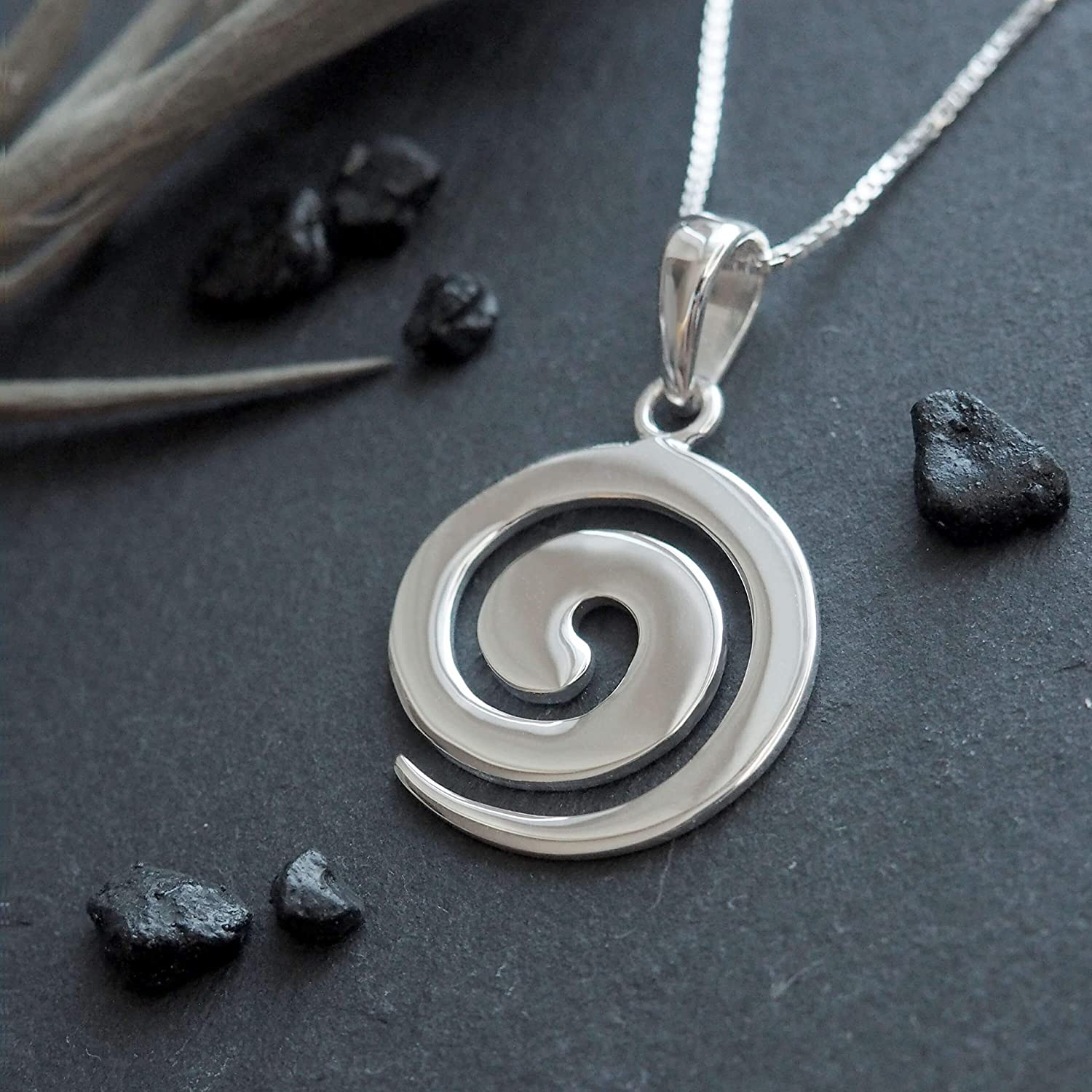Crystal Spiral Charm Sterling Silver Necklace