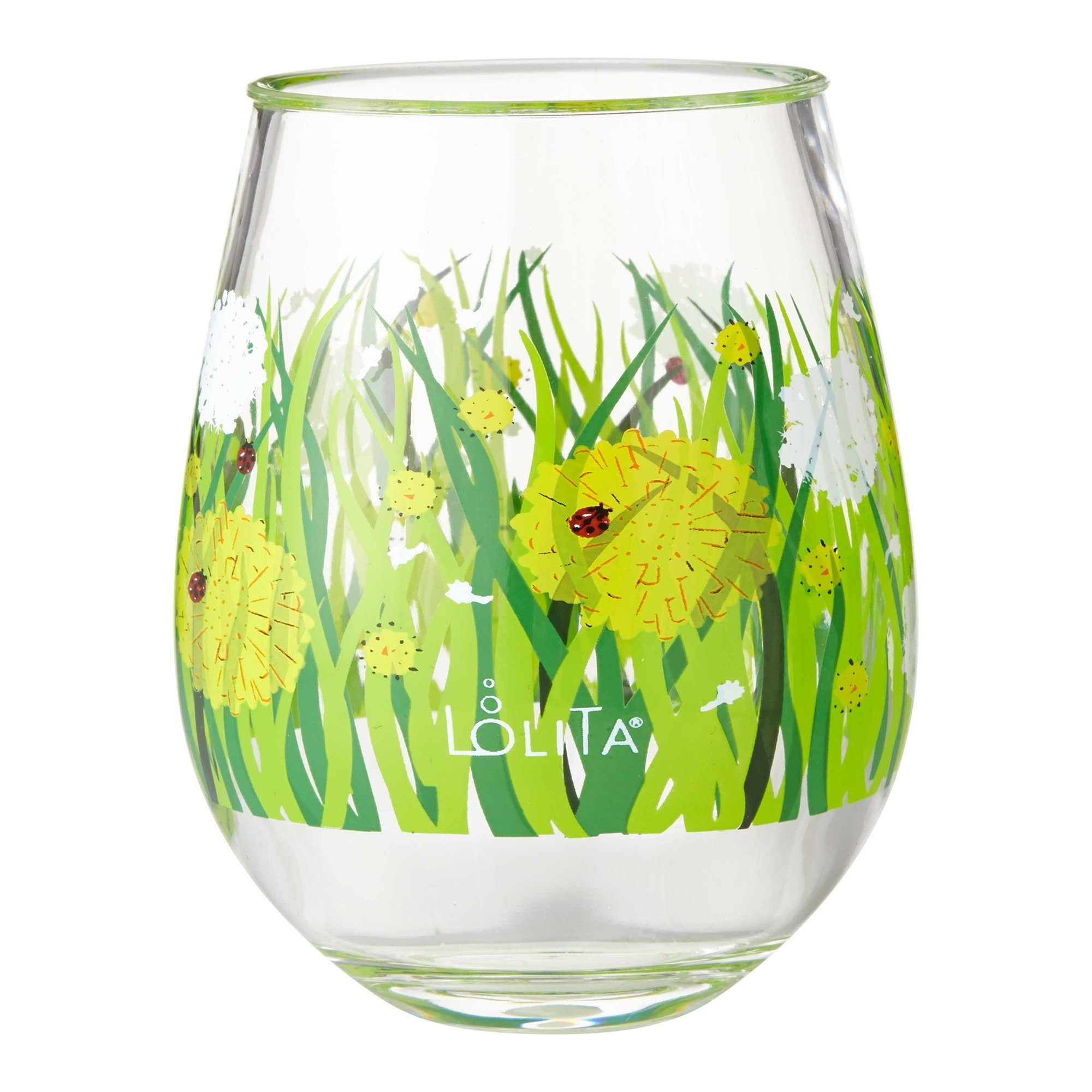 Enesco Designs by Lolita Dandelion Acrylic Stemless Wine Glasses, Set of 2, 17 oz.