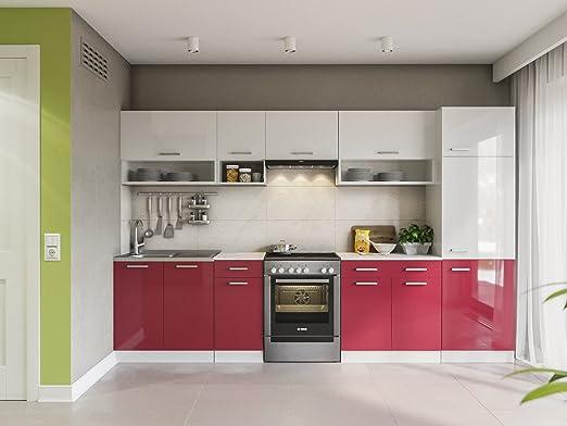 Eldorado de Muebles Cocina Lux 320 + cm Rojo Cocina línea Cocina Bloque Completo Cocina Instalación de Cocina: Amazon.es: Juguetes y juegos