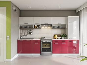 Möbel Für Küche | Eldorado Mobel Kuche Lux 320 Cm Rot Kuchenzeile Kuchenblock