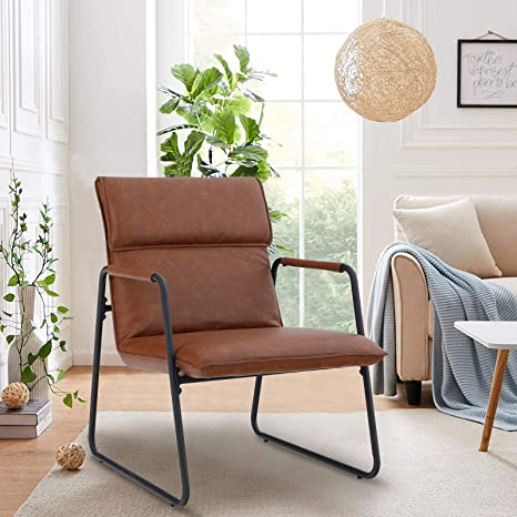 Amazon Com Sophia William Living Room Accent Chair Sofa Chair Accent Pu Leather Lounge Chair Mid Century Steel Frame Low Arm Chair Home Bedroom Brown Kitchen Dining
