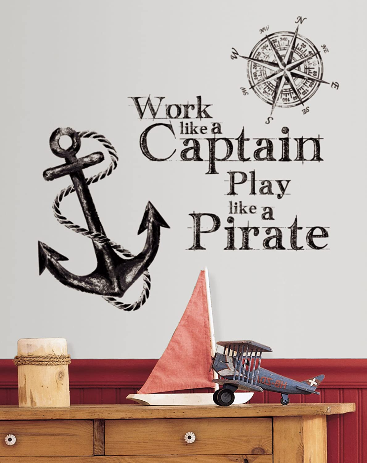 Roommates rmk2320gm work like a captain quote peel and stick wall roommates rmk2320gm work like a captain quote peel and stick wall decals decorative wall appliques amazon amipublicfo Image collections