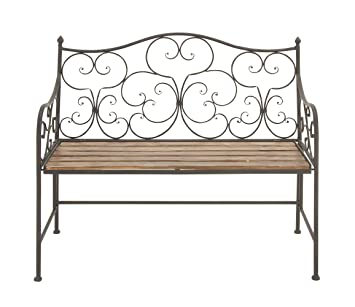 Amazoncom Deco 79 Metal Wood Bench 44 Inch By 36 Inch Home Kitchen