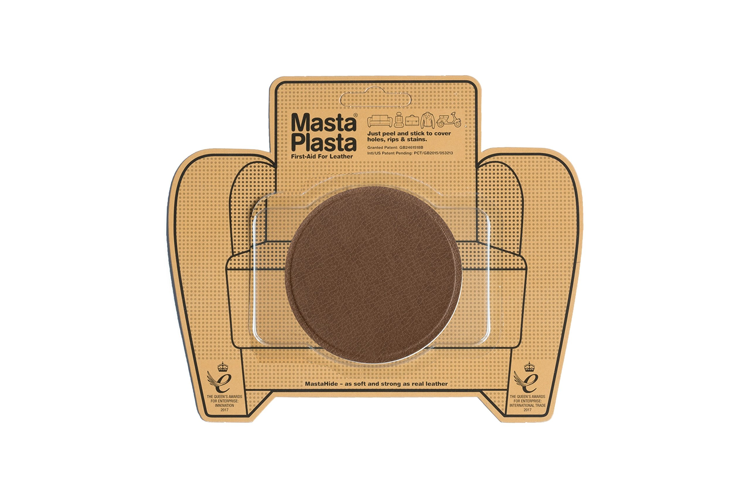 MastaPlasta, Leather Repair Patch, First-aid for Sofas, Car Seats, Handbags, Jackets, etc. Ivory Tan, Super Circle 3-inch by 3-inch, Designs Vary