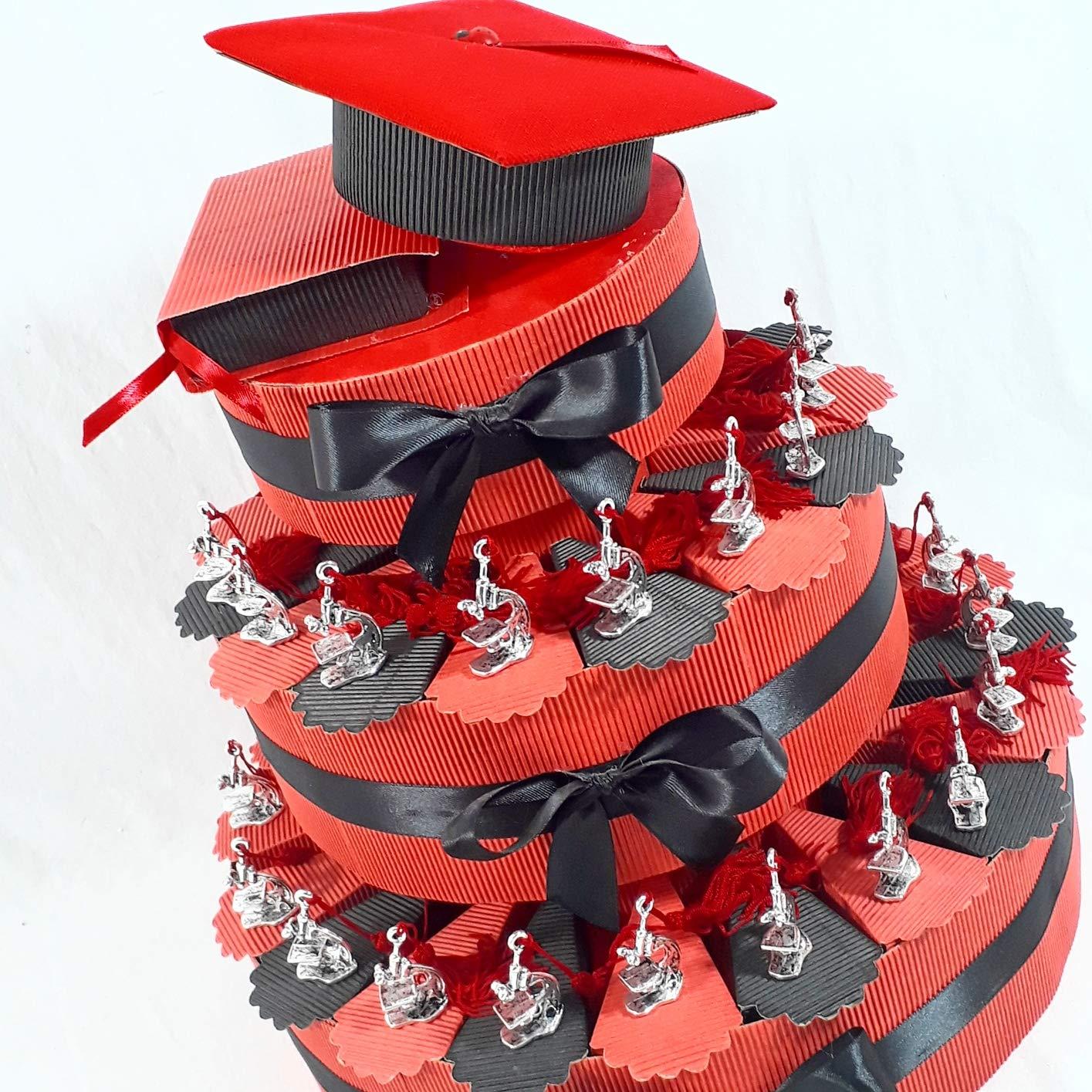 40% de descuento Torta Da 60 Fette Fette Fette Tarta BOMBONIERA Microscopio Plata con Madison para graduación Biología Scienze Tocco terciopelo  tiempo libre