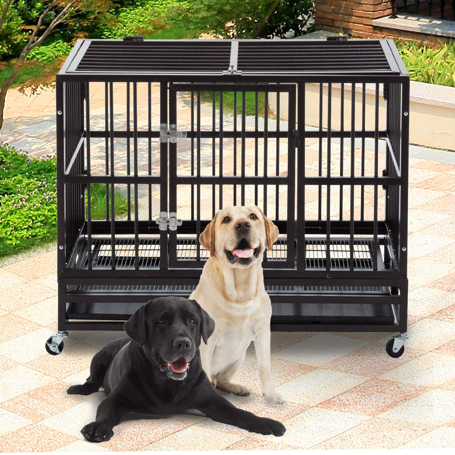 DOIT Heavy Duty Dog Cage Strong Metal Kennel XL Large Animal Crate Pet Tray