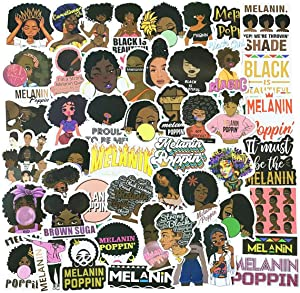 Melanin Poppin Black Stickers 50pcs,Vinyl Waterproof Laptop Water Bottle Car Sticker, Motorcycle Bicycle Luggage Decal Graffiti Patches Skateboard Stickers (Brown Skin Girl)