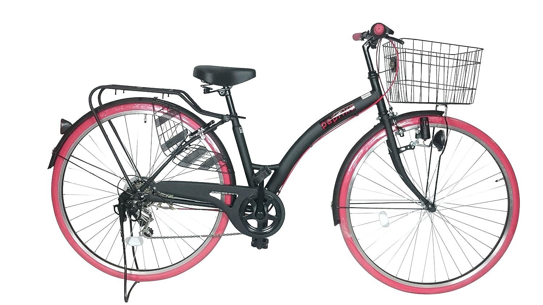 自転車 27インチ シティ車 外装6段ギア おしゃれなカラータイヤ paprika パプリカ シティサイクル レッド 赤 B07CTFT13J