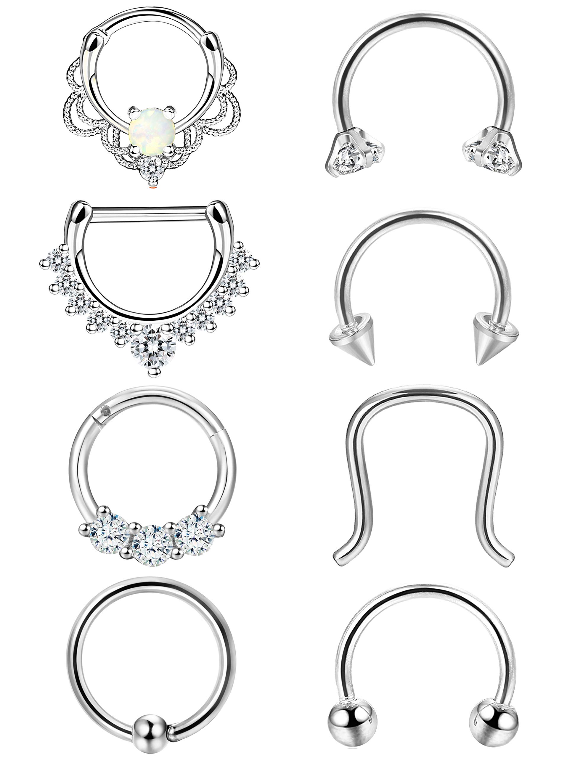 ORAZIO 8PCS 16G 316L Stainless Steel Septum Hoop Nose Ring 8MM Horseshoe Rings Daith Piercing Jewelry Silver Tone by ORAZIO