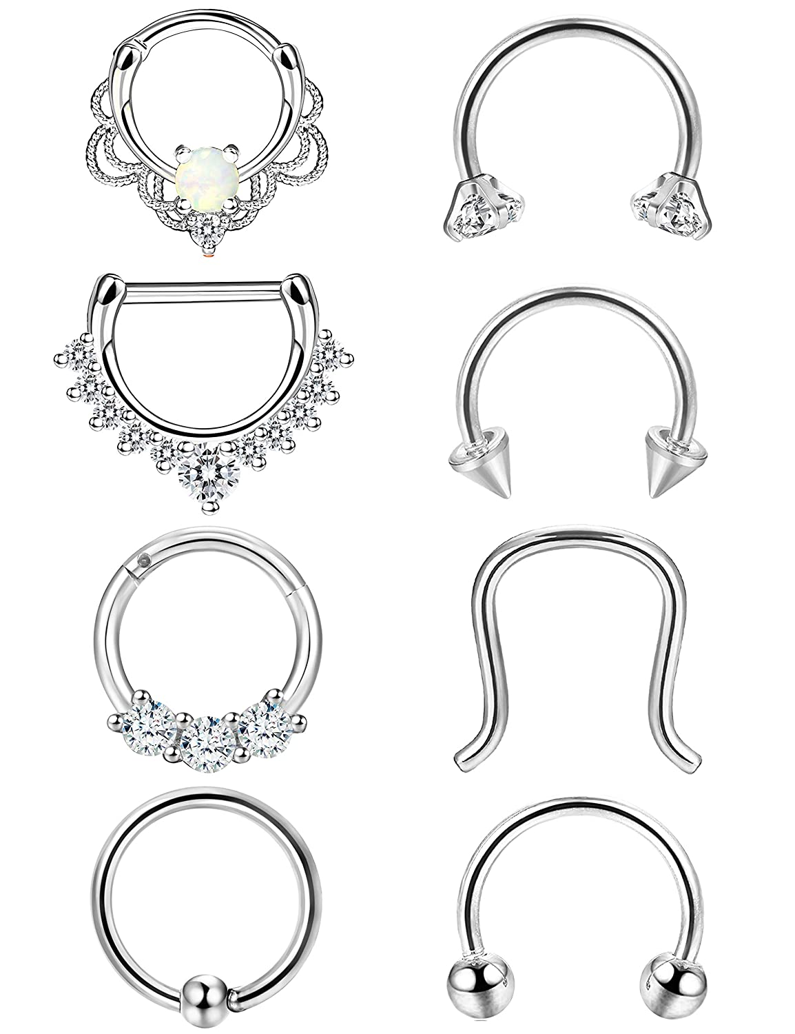 ORAZIO 8PCS 16G 316L Stainless Steel Septum Hoop Nose Ring Horseshoe Rings Daith Piercing Jewelry Diameter 8MM 10MM CC57-8S-8MM