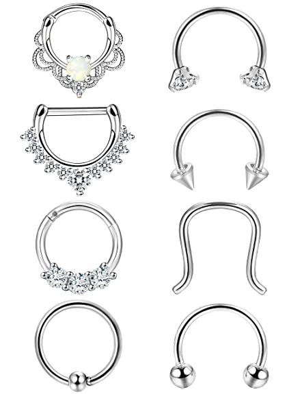 d3866cc73 Amazon.com: ORAZIO 8PCS 16G 316L Stainless Steel Septum Hoop Nose Ring 8MM  Horseshoe Rings Daith Piercing Jewelry Silver Tone: Jewelry