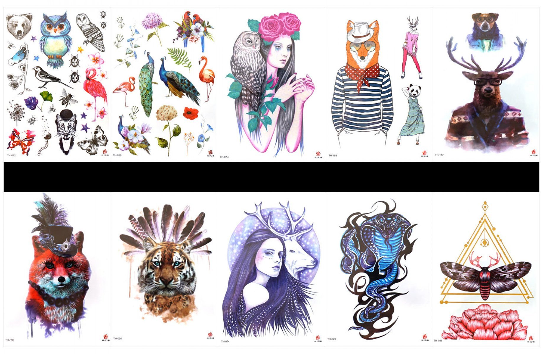 GGSELL GGSELL 10pcs tattoo snake temporary tattoos in one packages,including peacock,crane,bird,owl,lady,wolf,bear,deer,tiger,deer,cobra,snake,insect with flowers,etc.
