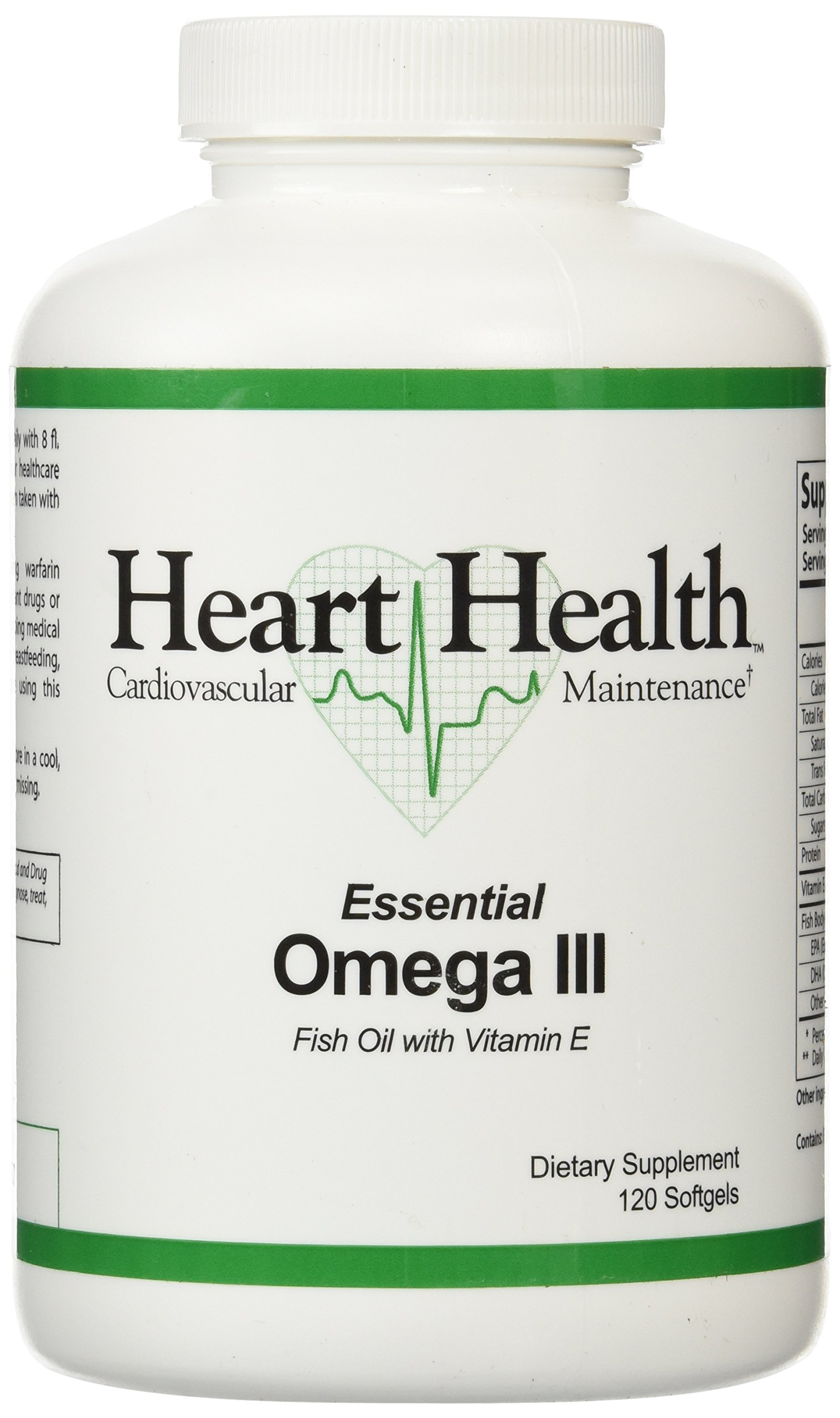 Heart Health™ Essential Omega III Fish Oil with Vitamin E Single Bottle - 120 softgels,(60 Servings)