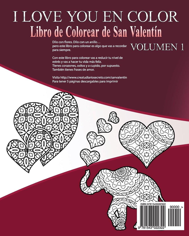 I Love You En Color Libro De Colorear De San Valentin Volume 1