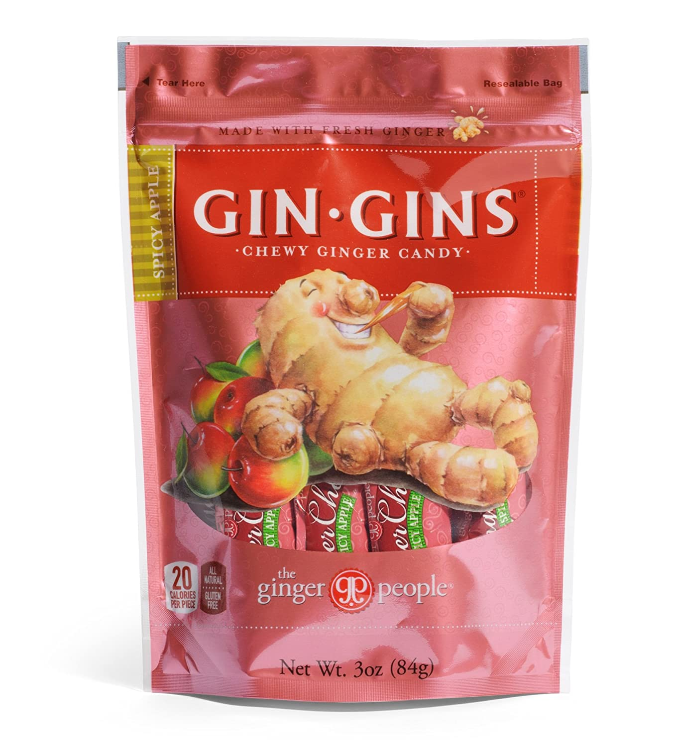 The Ginger People Ginger Chews, Spicy Apple, 3-Ounce Bags (Pack of 12)