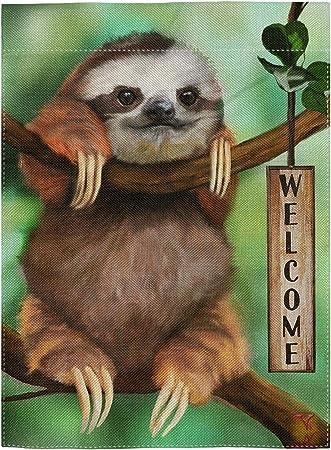 Pingpi Funny Baby Sloth Double Sided Burlap Garden Flag 12 5 X18 Garden Outdoor Amazon Com