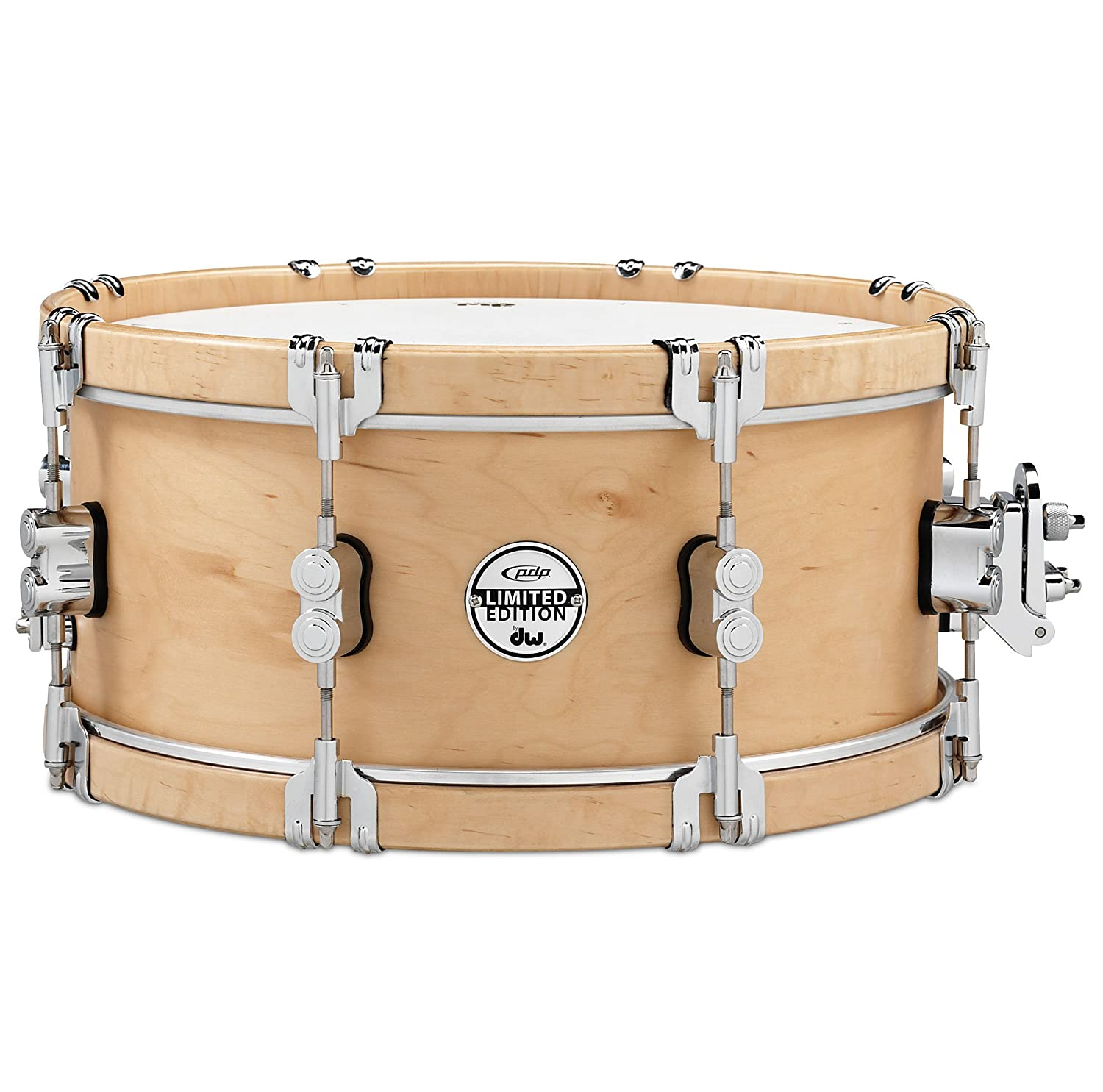 Pacific Drums and Percussion PDSX0614CLWH LIMITED Classic Wood Hoop 6-Inchx14-Inch Snare Drum with Claw Hooks