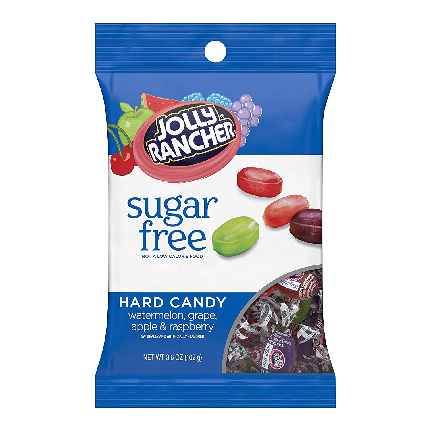 JOLLY RANCHER Hard Candy, Assorted Flavors, Sugar-Free, 3.6 Ounce Bag