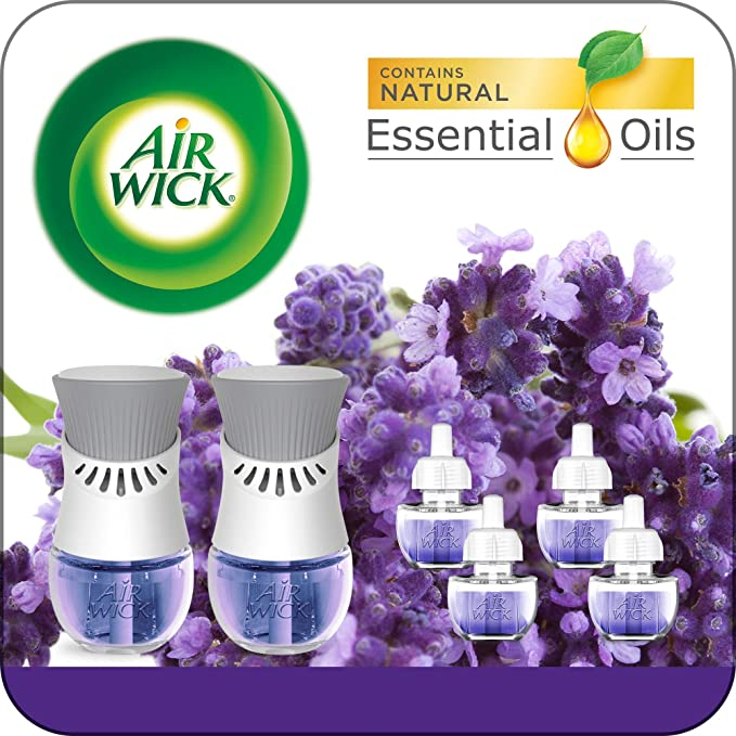 Air Wick Plug in Scented Oil Starter Kit, 2 Warmers + 6 Refills, Lavender & Chamomile, Eco Friendly