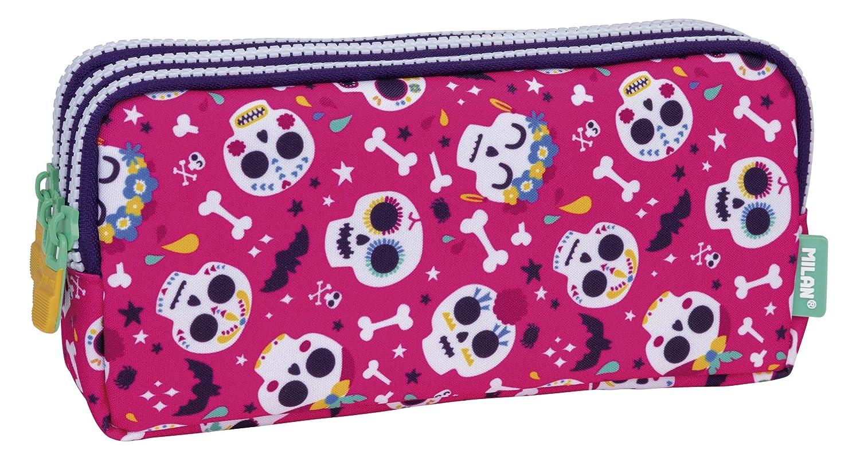 MILAN Portatodo 3 Cremalleras Bats&Bites Rosa Estuches, 22 cm ...