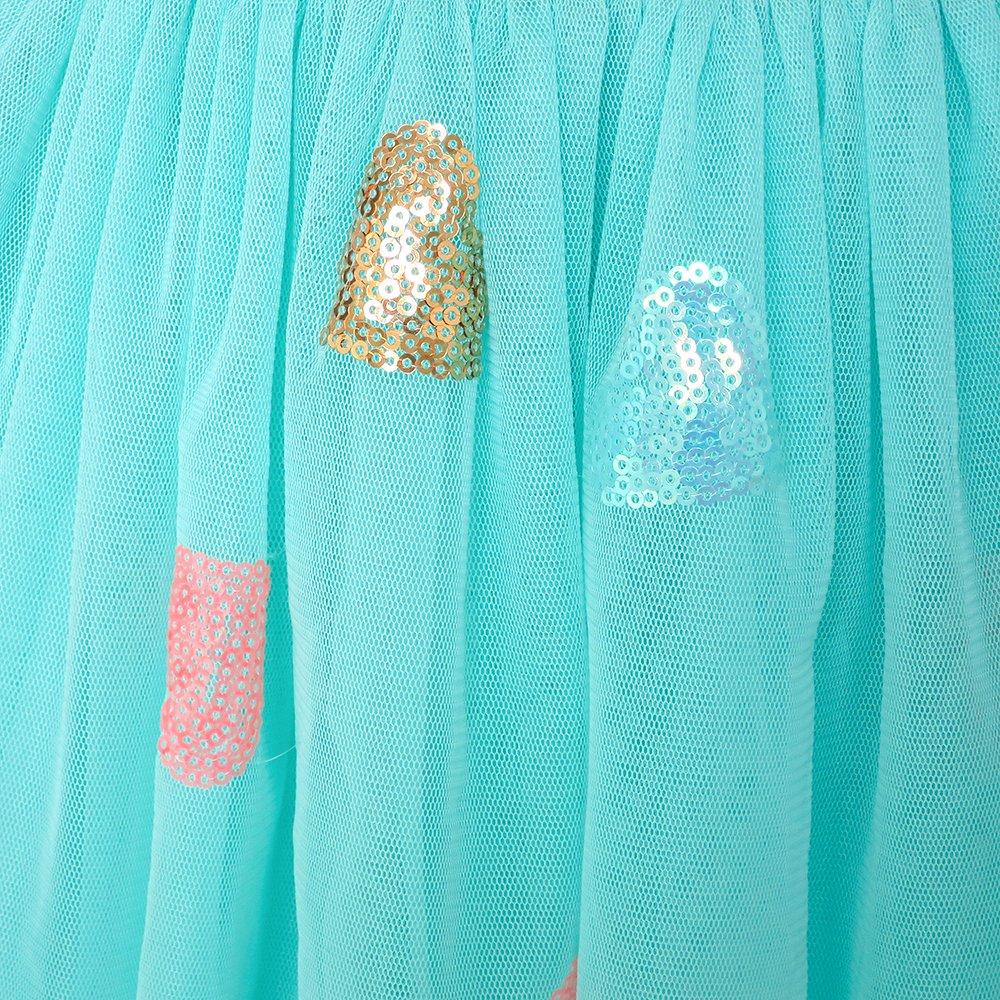 Sunny Fashion Chicas Falda Azul Coraz/ón Lentejuelas Espumoso Tutu Bailando 2-12 a/ños