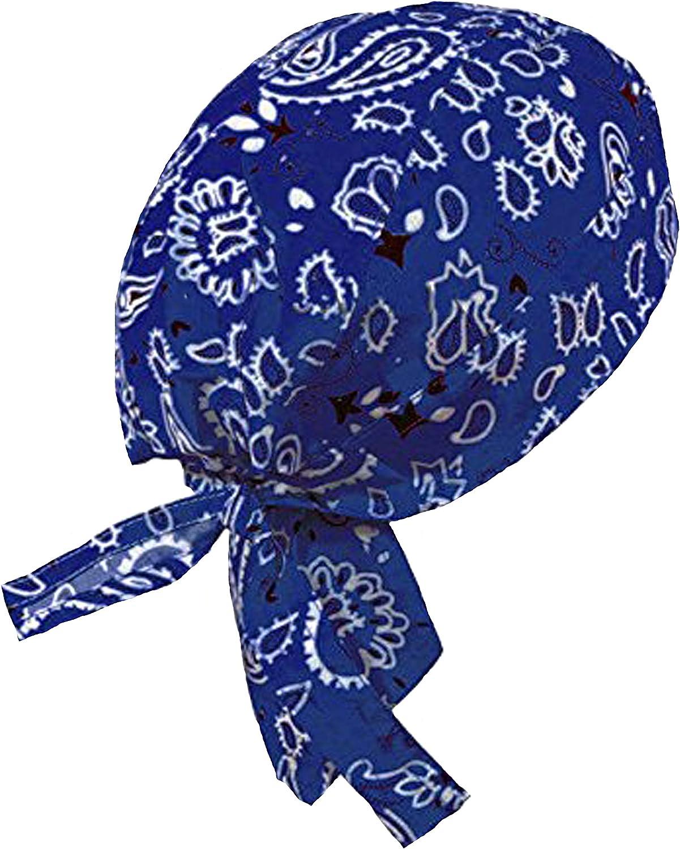 Motorcycle Wrap Biker Du Do Bandana Paisley Doo Rag Head Hot Cap Skull Blue X2R5