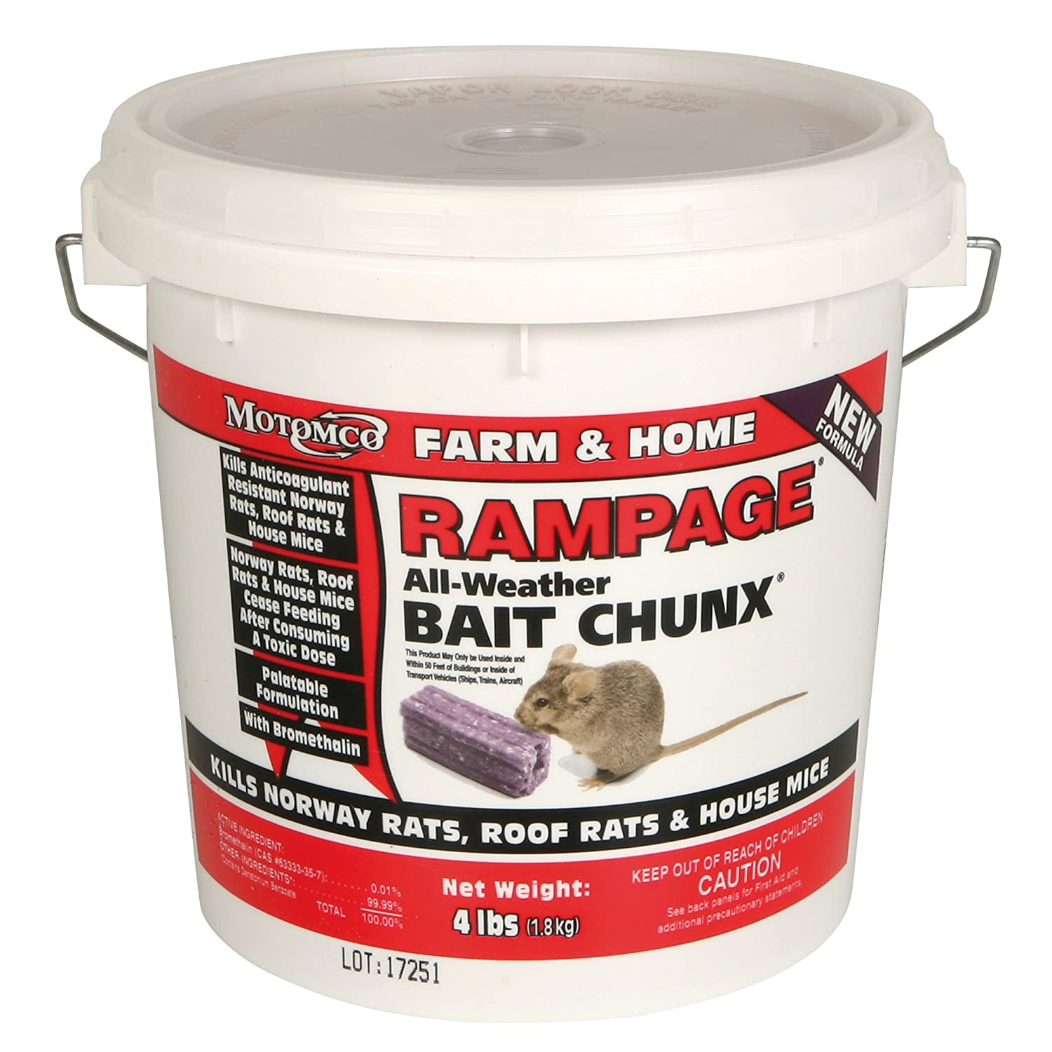 motomco rampage rat bait 4 lb bucket chunx 22249 amazon co uk rh amazon co uk
