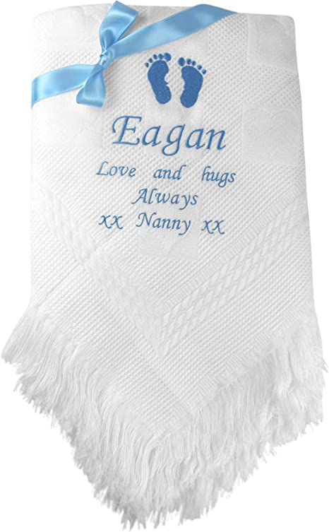 New Prince baby boy  white frilled shawl  Personalized Embroidered free