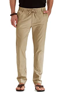 32225608 ZYFMAILY Men's Linen Cotton Drawstring Casual Summer Pants at Amazon ...