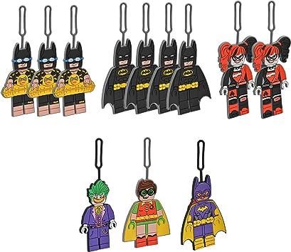 LEGO Batman Movie Luggage Tag Assortment - Includes Batman, Vacation Batman, Harley Quinn, Robin, The Joker & Batgirl - 12 Count