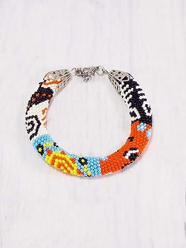 Amazoncom Handmade African Patchwork Bracelet Colorful Unique