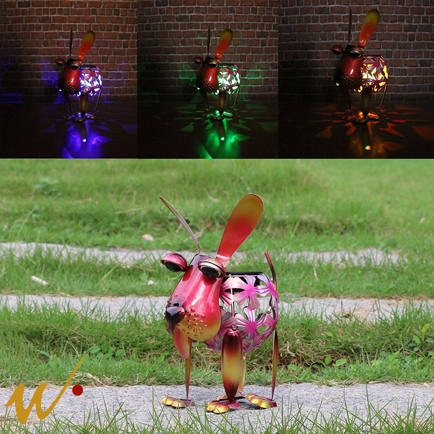 W-DIAN Solar Garden Lights Metal Art Outdoor Patio Decorative Animal Decor LED Lawn Metal Decorative Dog Statue