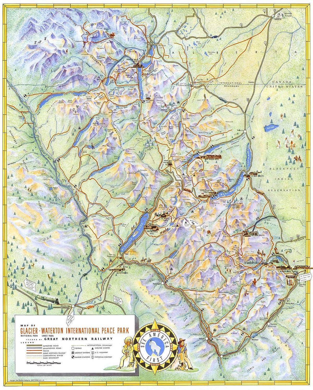 Amazon.com: Historic Map | Glacier National Park - Waterton Lakes ...