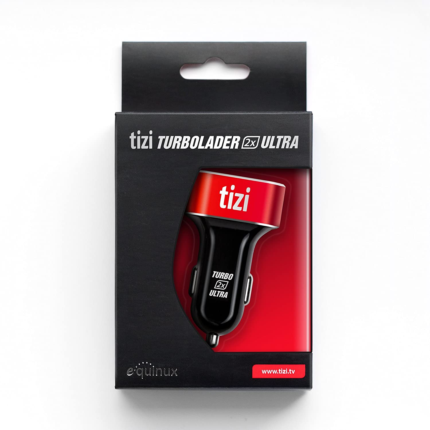 equinux New Tizi Turbolader 2X Ultra 42W, High Powered Car Charger with USB-C + USB-A Ports. 30W PD. Apple-Compatible Charger with Power Delivery, ...