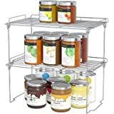 Stackable Cabinet Shelf Kitchen Cabinet Organizers and Storage, 2 Pack Pantry Shelves Organizer with Guardrails Design for Sa
