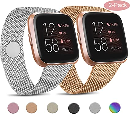 Metal Stainless Steel Replacement Bands with Unique Lock Compatible with Fitbit Versa//Versa 2//Versa Lite Funbiz Compatible with Fitbit Versa Strap//Fitbit Versa 2 strap Large Small