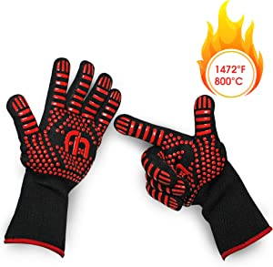 Famy Home Heat Resistant Gloves - BBQ Grilling Silicone - Mitts for Barbecue, Baking and Cooking in The Oven, Fire, Kitchen or Smoker or just for Charcoal, Wood, Pellets, Stones Outdoor or Fireplace