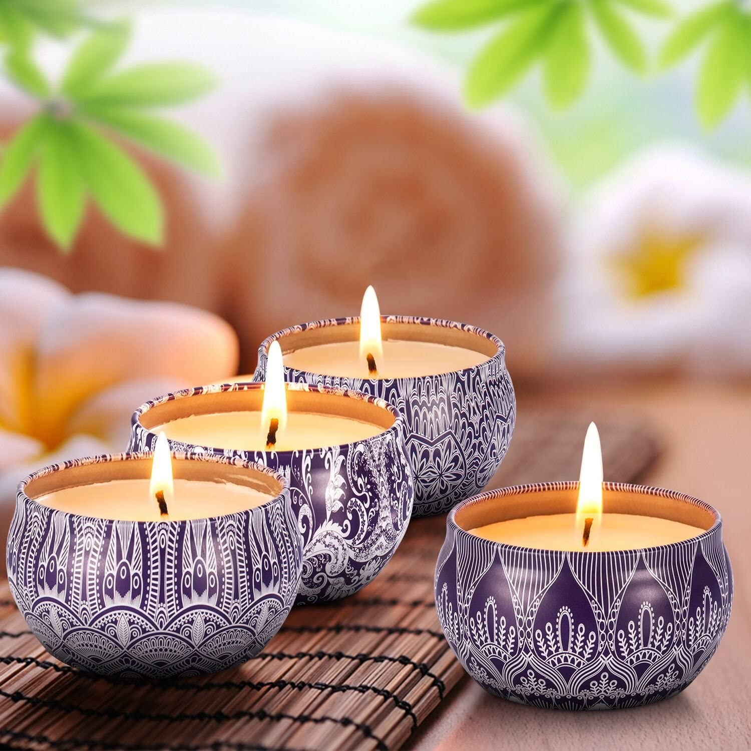 Scented Candles Blue & White Gift Set - 4 Pack Fragrance Soy Wax Candle with Aromatherapy Essential Oils - Include (Lily & Green Tea & Lilac Blossoms & Ginger Flower)