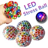 MarMoon Mesh LED Stress Squishy Balls 4 Pack Rubber Multicolor Vent Toy Grape Ball Stress Relief Squeeze Toys Ideal for Relieve Tension, Anxiety, ADHD for Office Adults Boys Girl (Grape-2)