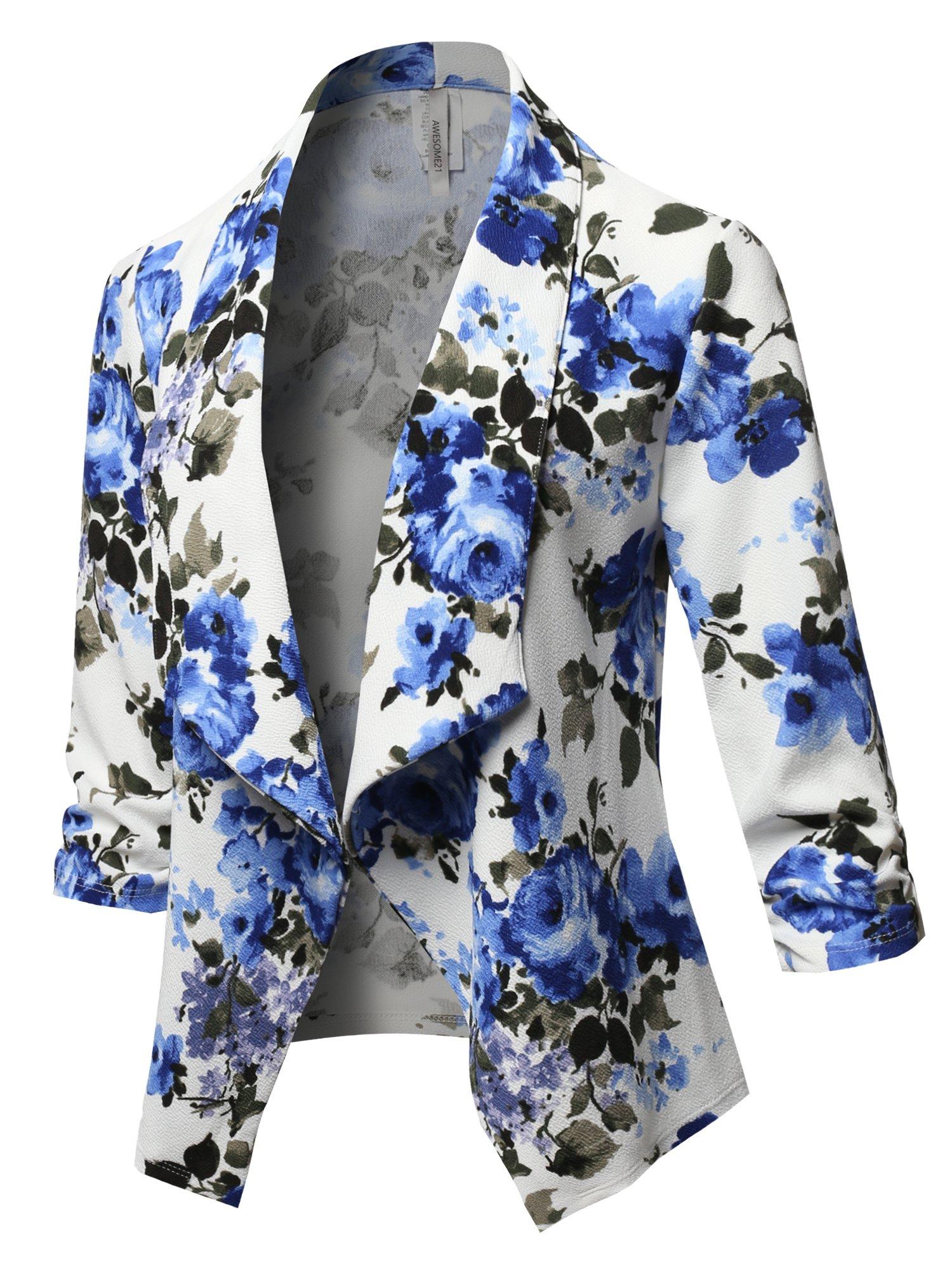 Awesome21 Stretch 3/4 Gathered Sleeve Open Blazer Jacket White Blue Olive Size S