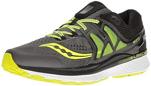 f5ae21ab Saucony Men's Hurricane ISO 3 Running Shoes, Grey/Black/Citron, ...