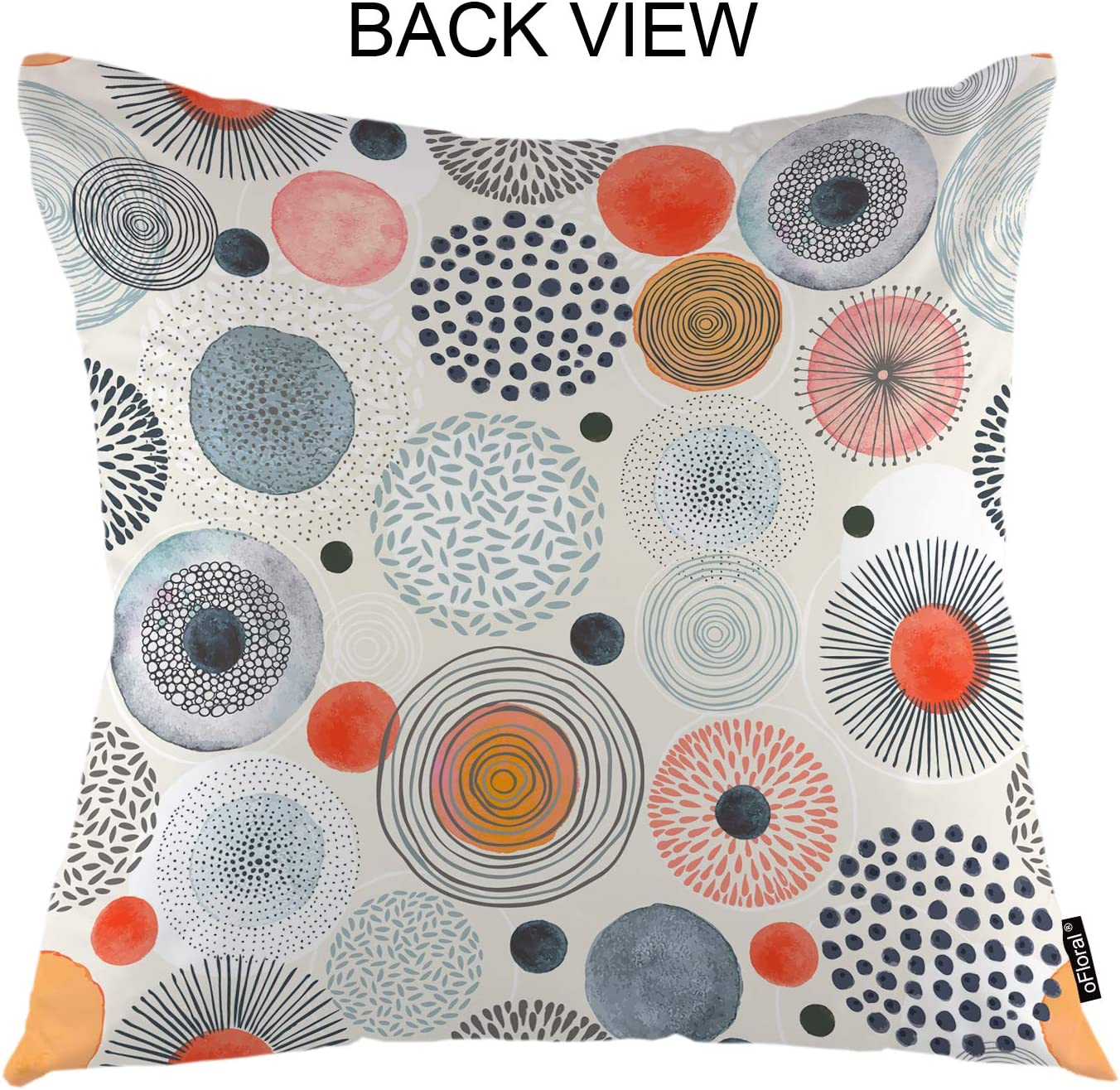 Amazon Com Ofloral Circles Throw Pillow Cover Round Spot Sun Ray Fireworks Decorative Square Pillow Case 18 X18 Pillowcase Home Decor For Sofa Bedroom Home Kitchen