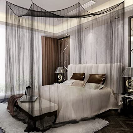 Amazon.com Yimii 4 Corner Post Mosquito Net Princess Bed Canopy Mosquito Netting Bed Curtains for Full Queen King Size Bed.(Black) Home u0026 Kitchen & Amazon.com: Yimii 4 Corner Post Mosquito Net Princess Bed Canopy ...